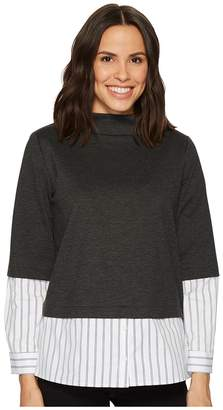 Vince Camuto Long Sleeve Mock Neck Mix Media Ponte Top w/ Yard Dyed Stripe Women's Clothing