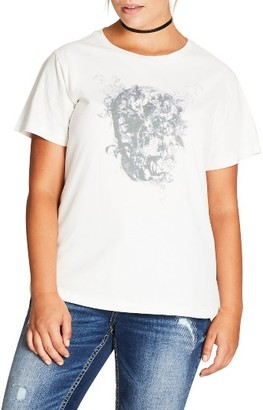 Plus Size Women's City Chic Skull Love Graphic Tee $49 thestylecure.com