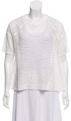 Rebecca Taylor Lace-Accent Short Sleeve Sweater w/ Tags