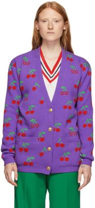 Gucci Purple Jacquard GG Cherry Cardigan