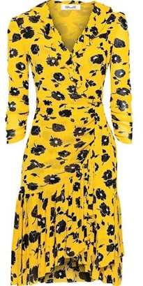 Diane von Furstenberg Paloma Ruffled Floral-print Mesh Wrap Dress