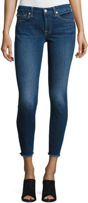 7 For All Mankind The Ankle Skinny Jeans with Raw Hem, Indigo