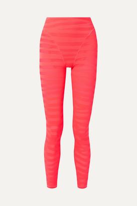 Adam Selman Paneled Neon Stretch-mesh Leggings - Bright pink