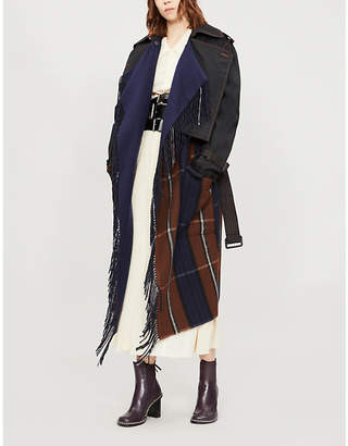 Loewe Checked-panel wool and cashmere-blend trench coat