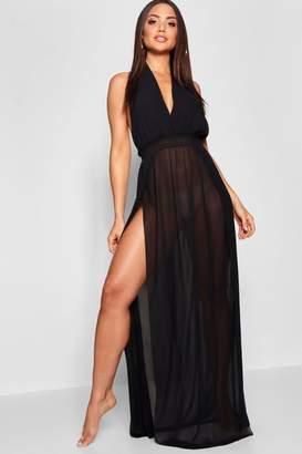 boohoo Halter Beach Maxi Dress