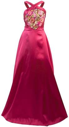 Marchesa embroidered halterneck ball gown