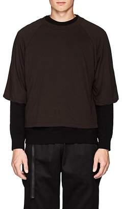 Taverniti So Ben Unravel Project Men's Layered Cotton Jersey & Fleece Sweatshirt