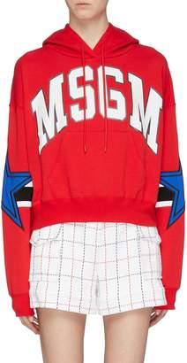 MSGM Logo print star stripe sleeve hoodie