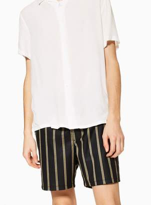 Topman Black and Mustard Stripe Pull On Shorts