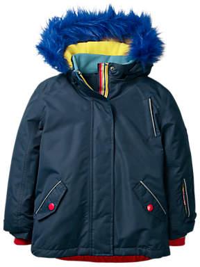 Boden Mini Girls All-Weather Waterproof Jacket, Navy Rainbow
