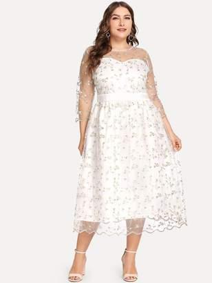 SheinShein Plus Embroidered Mesh Overlay Sweetheart Neck Dress