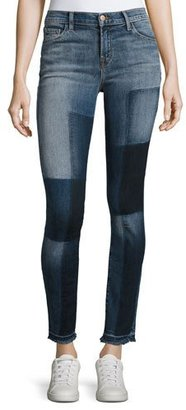 J Brand 811 Mid-Rise Skinny Patchwork Jeans, Reunion $228 thestylecure.com