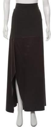 Brunello Cucinelli Silk Wool-Paneled Maxi Skirt w/ Tags Grey Silk Wool-Paneled Maxi Skirt w/ Tags