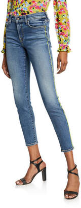 7 For All Mankind Ankle Skinny Jeans with Neon Piping