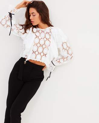 Clover Embroidery Anglaise Ruffled Blouse