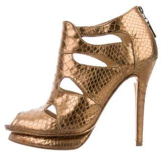 Alexandre Birman Embossed Cage Booties