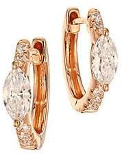 Anita Ko Women's Marquis Diamond & 18K Rose Gold Huggie Earrings