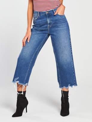 Very Cropped Wide Leg Jean - Dark Wash