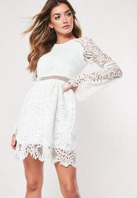 b67c2f2aa7ce Missguided White Lace Frill Double Layer Skater Dress