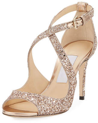 Jimmy Choo Emily Coarse Glitter 85mm Sandal