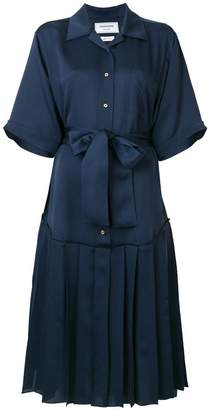 Thom Browne pleated belted shirt dress