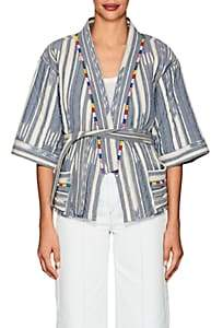 Warm Women's Weekend Folkloric-Print Cotton Kimono Jacket - Blue