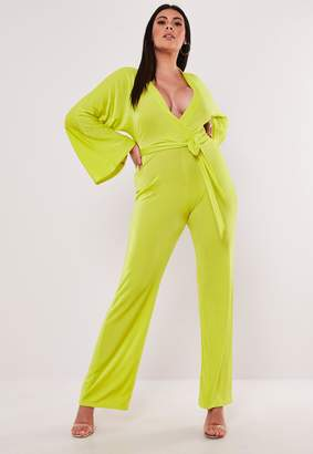 Missguided Plus Size Lime Batwing Slinky Wide Leg Jumpsuit
