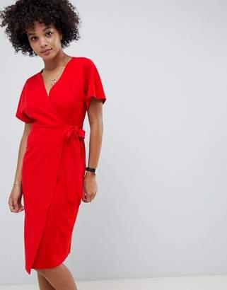 Asos Design DESIGN wrap midi batwing dress