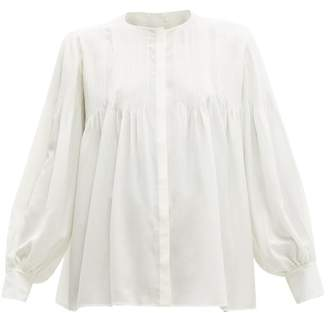 Chloé Pintucked Silk Blouse - Womens - Ivory
