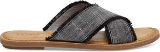 Black Textured Chambray Women's Viv Sandals