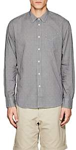 Officine Generale MEN'S MICRO-GINGHAM COTTON POPLIN SHIRT SIZE S