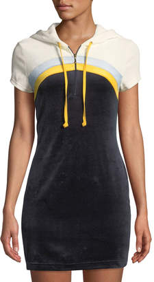 Juicy Couture Hooded Colorblocked Velour Mini Dress