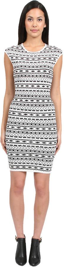 Torn By Ronny Kobo Mandy Tribal Dress in Black/White