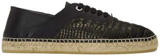 Jimmy Choo Black Nubuck Croc Luke Espadrilles