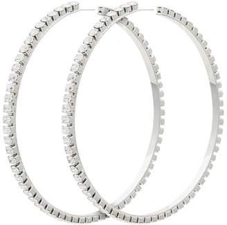 Area silver metallic dorinda oversized crystal hoop earrings