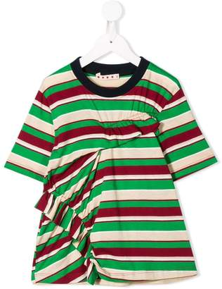 Marni frilly striped T-shirt