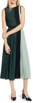 Halogen x Atlantic-Pacific Colorblock Pleated Midi Dress