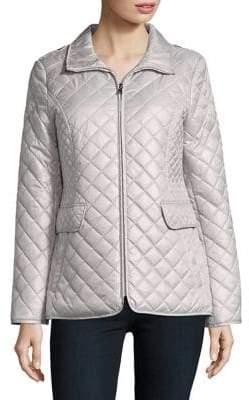 Ellen Tracy Petite Quilted Zip Front Coat