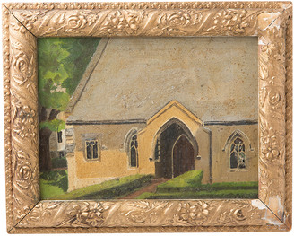 Rejuvenation Original Oil Painting of Church in Gold Gilt Frame