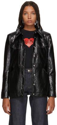 ALEXACHUNG Black Shiny Patch Pocket Jacket