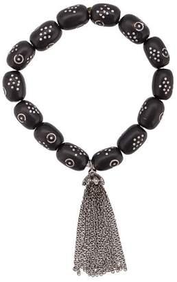 Loree Rodkin 18t gold coral bead tassel bracelet