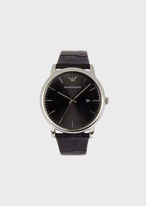 Emporio Armani Watch With Steel Case And Croc-Print Leather Strap