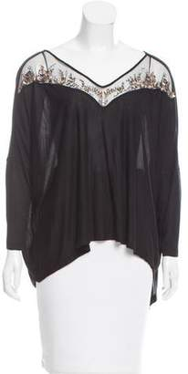 Amen Embellished Mesh-Trimmed Top w/ Tags