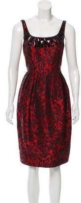 Carmen Marc Valvo Embellished Jacquard Dress