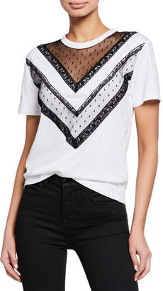RED Valentino Short-Sleeve Cotton Tee with Lace Trim