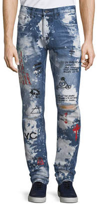 PRPS Men's Le Sabre Graphic Distressed Denim Jeans