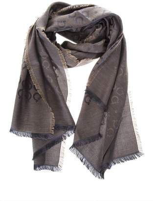 Salvatore Ferragamo Smoke Grey Silk & Wool Scarf With Logo