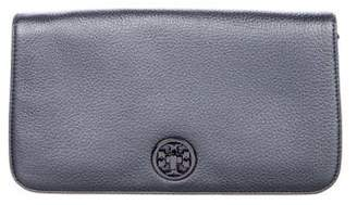 Tory Burch Metallic Grained Leather Logo Clutch