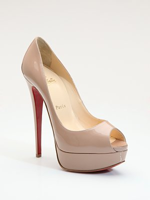 Lady Peep Patent Leather Platform Pumps