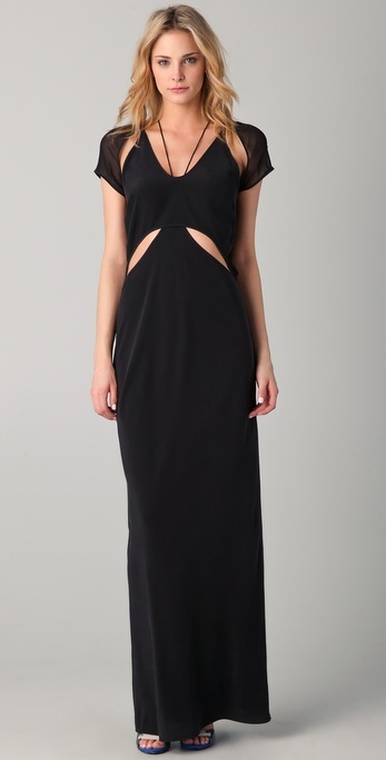 T By Alexander Wang Flutter Cutout Maxi Dress